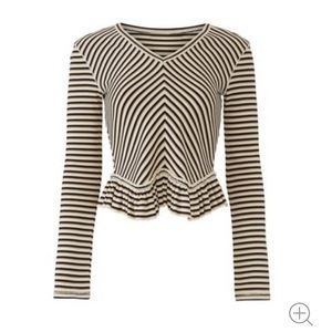 See by Chloe Striped Ruffle Hem Top